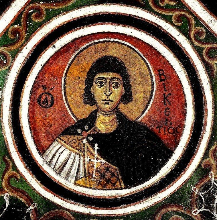 Святой Мученик Викентий. Фреска монастыря Осиос Лукас, Греция. 1030 - 1040-е годы.