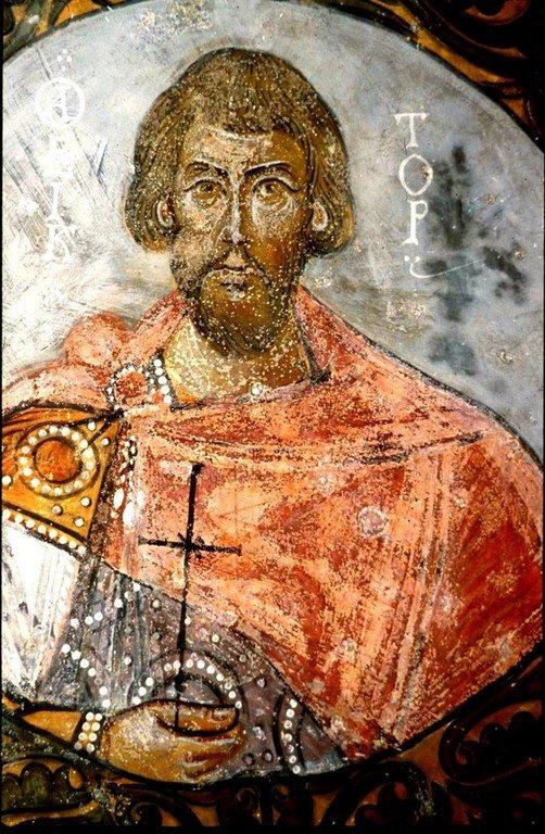 Святой Мученик Виктор. Византийская фреска в церкви Токалы килисе в Каппадокии.