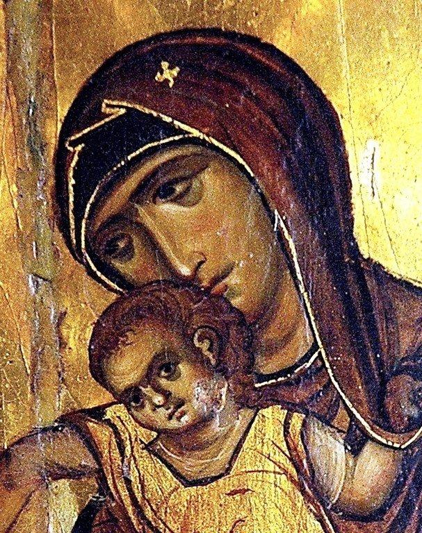Киккская икона Божией Матери. Византия, XI - XII век. Монастырь Святой Екатерины на Синае. Фрагмент.