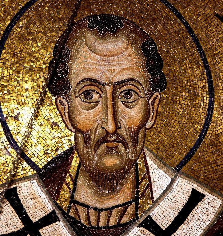 Святитель Иоанн Златоуст. Мозаика монастыря Осиос Лукас, Греция. 1030 - 1040-е годы.