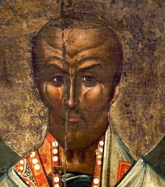 Святитель Иоанн Златоуст. Икона. Византия, первая половина XV века. Византийский музей в Кастории, Греция. Фрагмент.