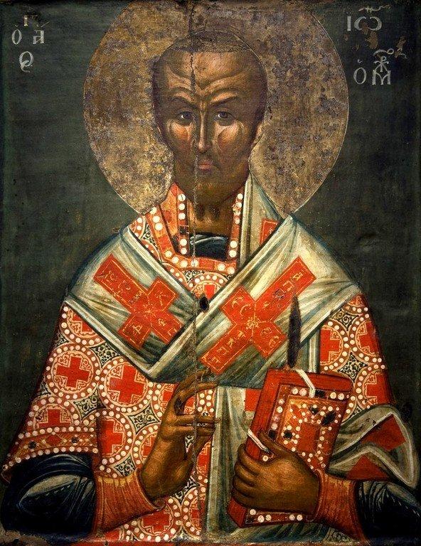 Святитель Иоанн Златоуст. Икона. Византия, первая половина XV века. Византийский музей в Кастории, Греция.