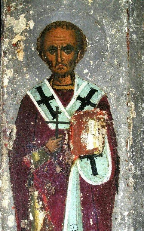 Святитель Иоанн Златоуст. Фрагмент византийской иконы из монастыря Панагии Аракиотиссы на Кипре. Около 1193 года. Иконописец Апсевд Феодор. Византийский музей архиепископа Макария III в Никосии.