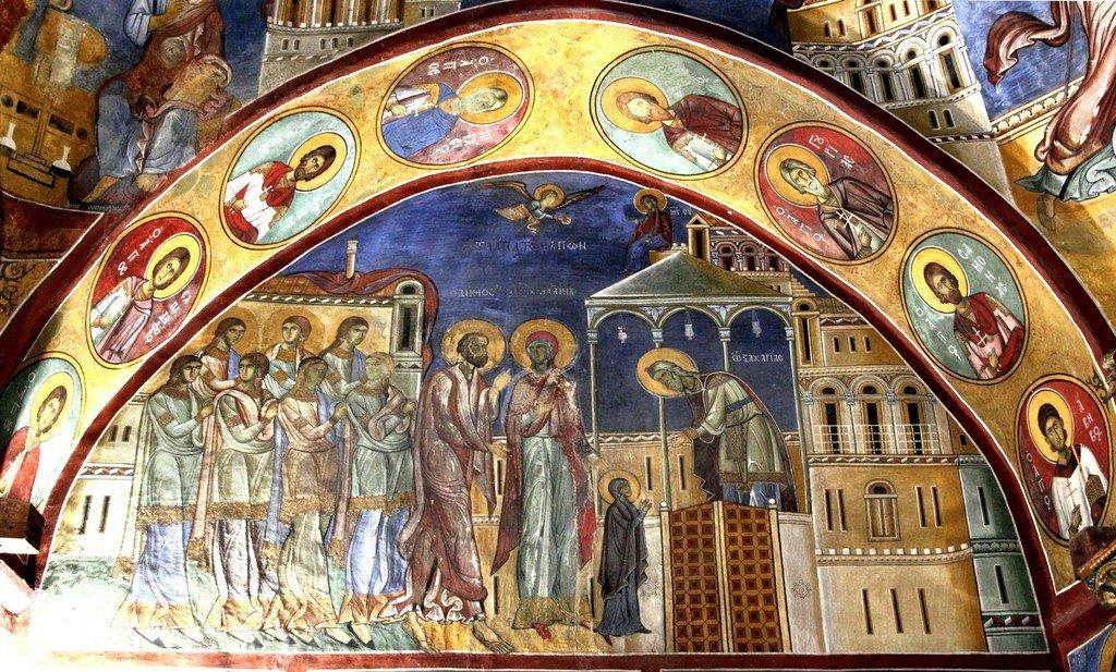 Введение во храм Пресвятой Богородицы. Фреска церкви Панагии Аракиотиссы в деревне Лагудера на Кипре. 1192 год.