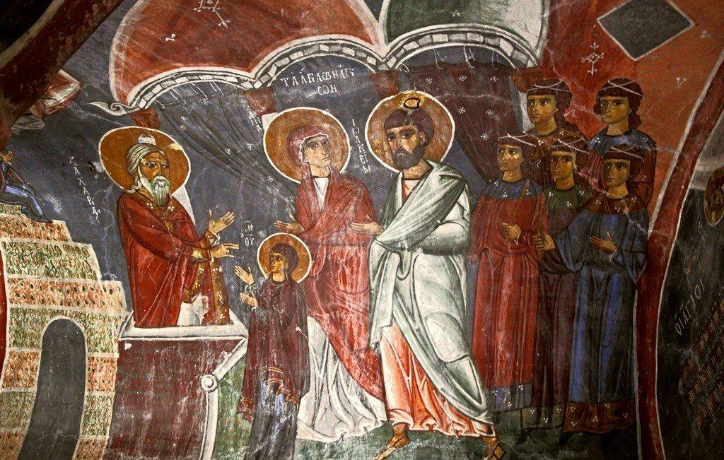 """Введение во храм Пресвятой Богородицы. Фреска церкви Святого Николая """"тис стегис"""" (""""под крышей"""") на Кипре. XII век."""