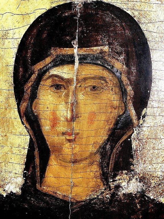 Лик Пресвятой Богородицы. Фрагмент византийской иконы. Монастырь Ватопед на Афоне.