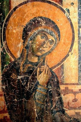 Образы Пресвятой Богородицы на фресках церкви Святого Георгия в Курбиново, Македония. 1191 год.