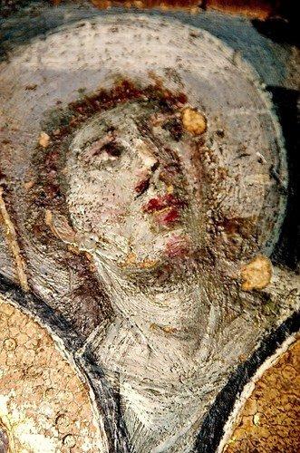 Пресвятая Богородица с Младенцем и Святыми Великомучениками Феодором и Георгием Победоносцем. Византийская икона второй половины VI века. Монастырь Святой Екатерины на Синае.