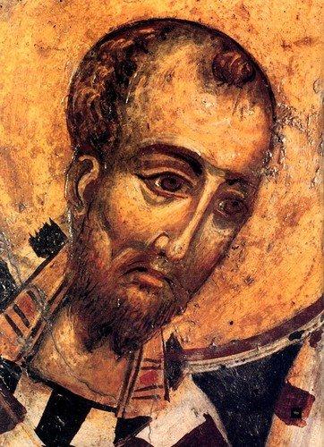 Святитель Иоанн Златоуст. Фреска церкви Успения Пресвятой Богородицы в Троносе, Крит.