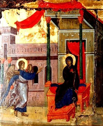 Благовещение Пресвятой Богородицы. Византийская икона XIV века.