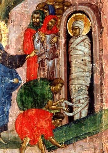 Воскрешение Праведного Лазаря. Византийская икона XIV века.