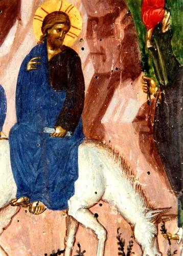 Вход Господень в Иерусалим. Византийская икона XIV века. (Вербное Воскресенье).