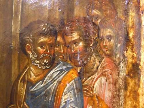 Уверение Апостола Фомы. Византийская икона начала XIV века. Галерея икон в Охриде, Македония.