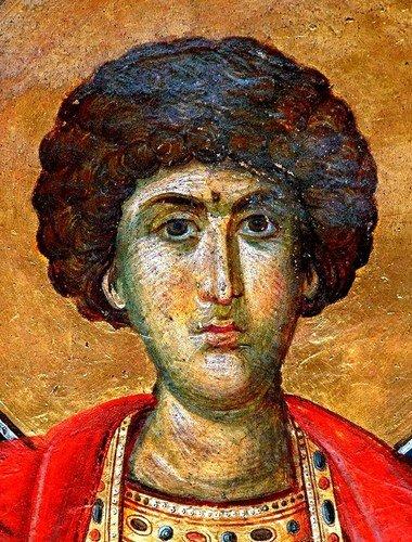 Святой Великомученик Георгий Победоносец. Фреска монастыря Пантократор на Афоне. 1363 год.