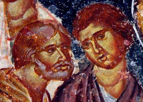 Умножение Христом хлебов и рыб. Фреска собора Святой Софии в Трапезунде. XIII век.