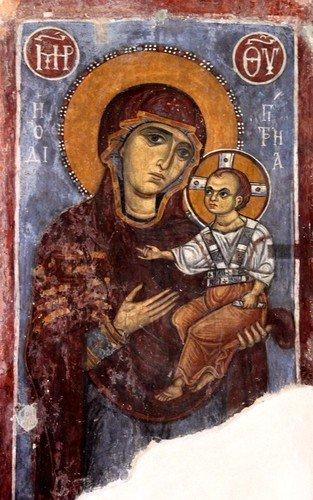 """Богоматерь Одигитрия. Фреска церкви Святого Николая """"тис стегис"""" (под крышей) на Кипре."""