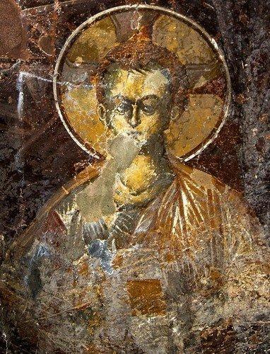 Богоматерь Оранта. Фреска церкви Святого Афанасия ту Музаки в Кастории, Греция. 1383 - 1384 годы.