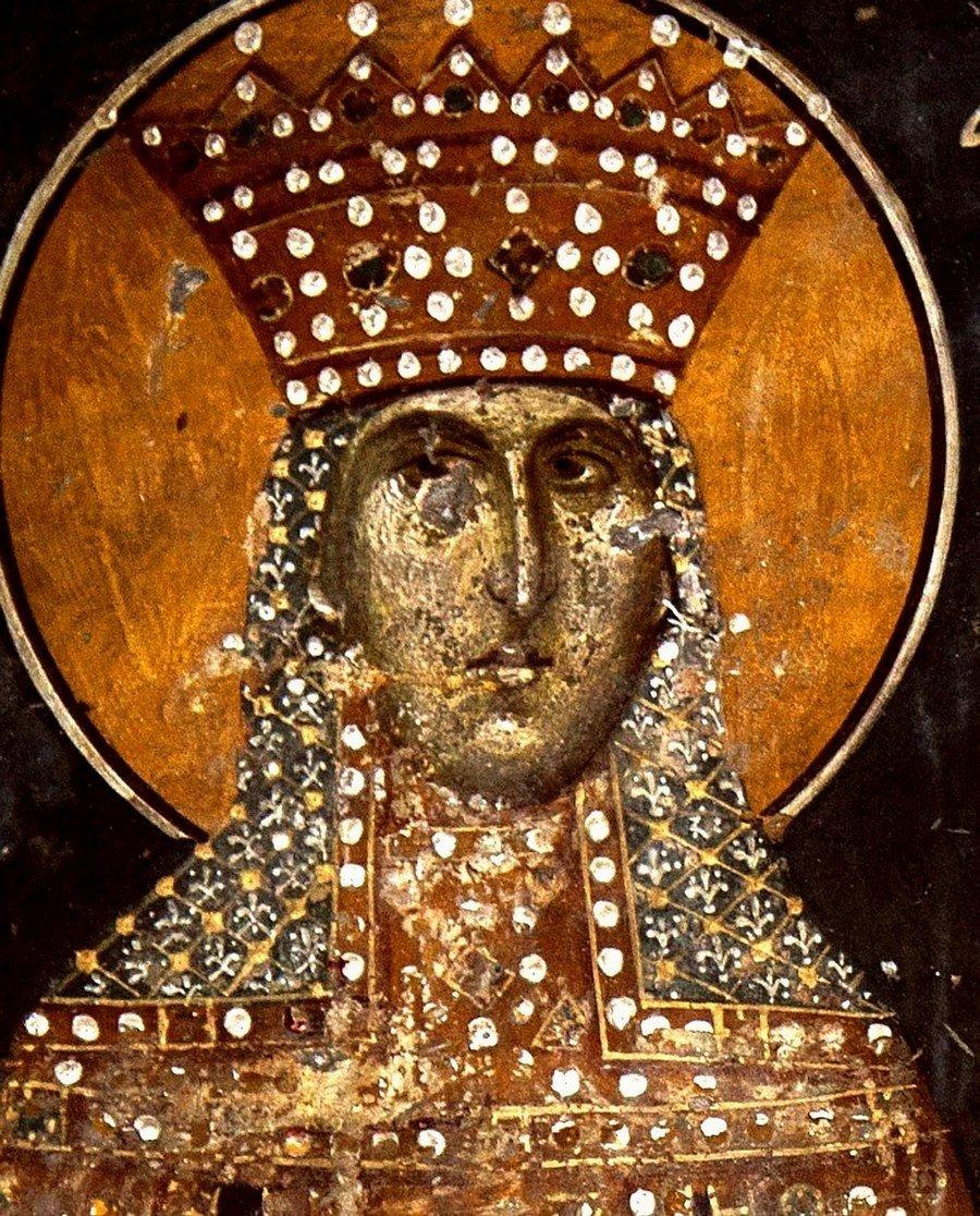 Святая Великомученица Екатерина Александрийская. Фреска церкви Святого Николая Орфаноса в Салониках, Греция. 1310 - 1315 годы.