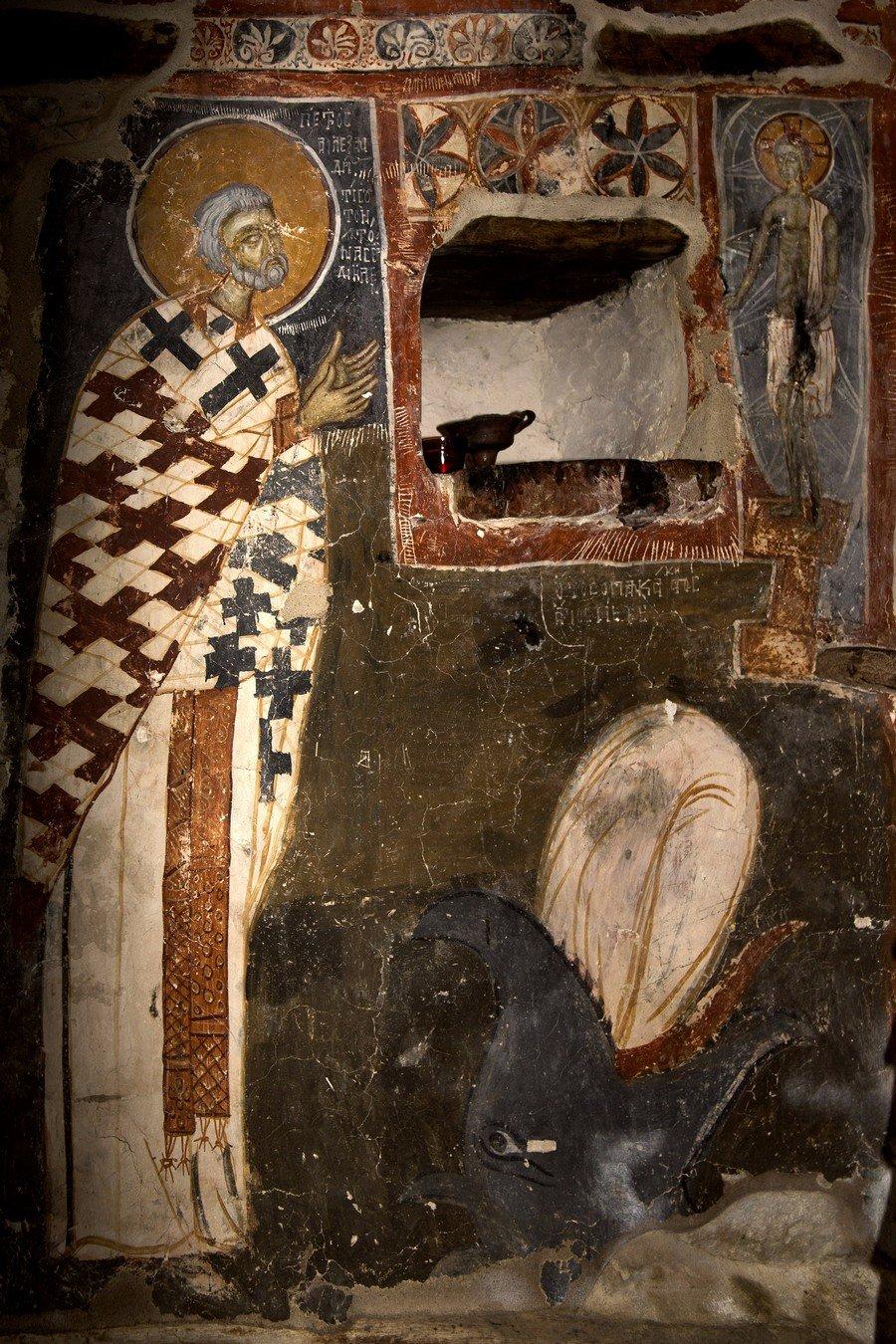 Видение Святого Петра Александрийского. Фреска исихастириона Панагии Елеусы на озере Преспа, Греция. 1409 - 1410 годы.