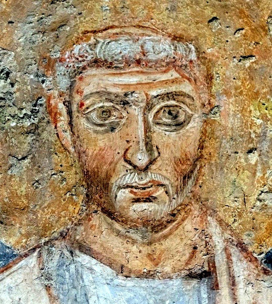 Священномученик Климент, Папа Римский. Византийская фреска в церкви Санта-Мария-Антиква в Риме.