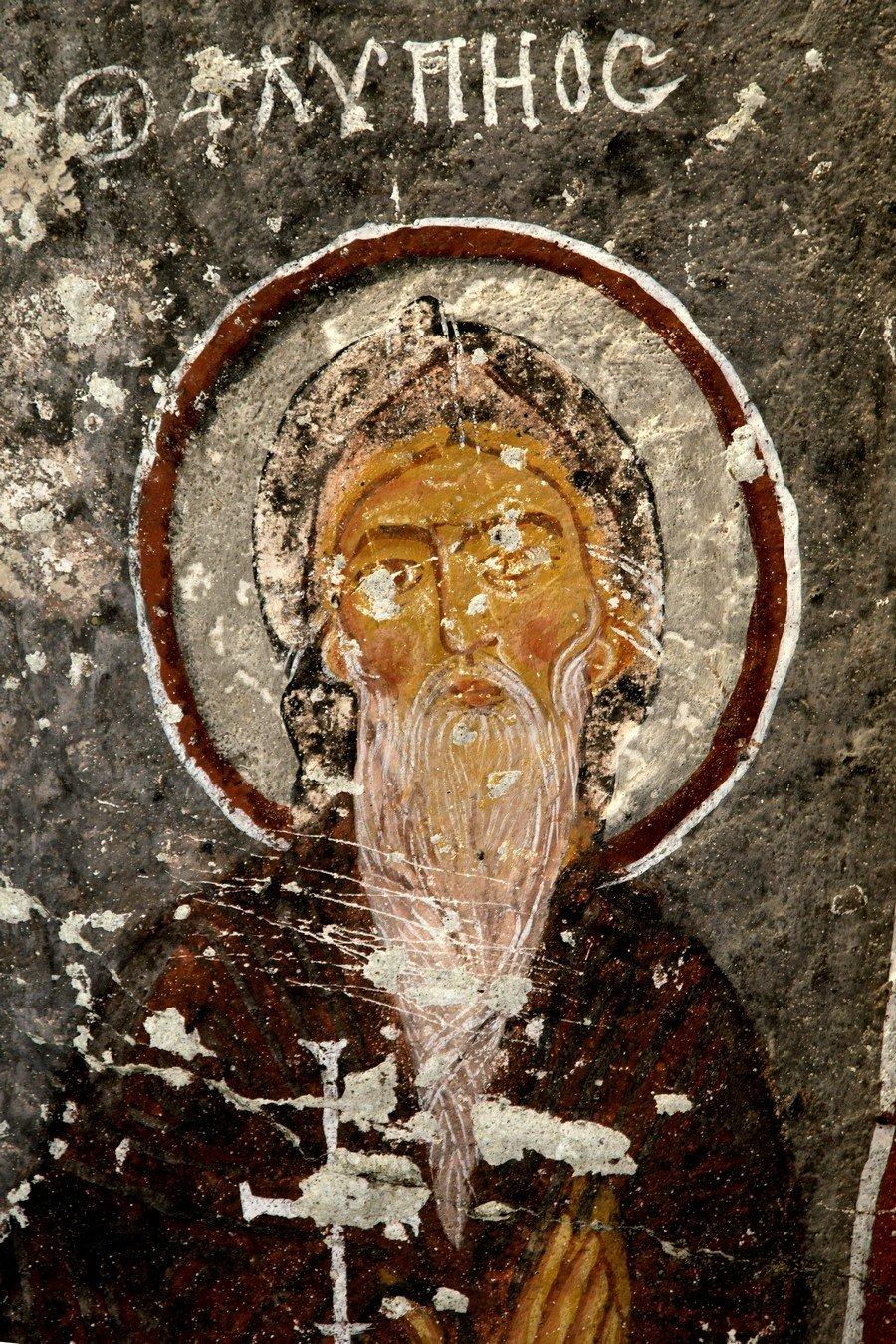 Святой Преподобный Алипий Столпник. Византийская фреска в церкви Сарнич килисе, Каппадокия.