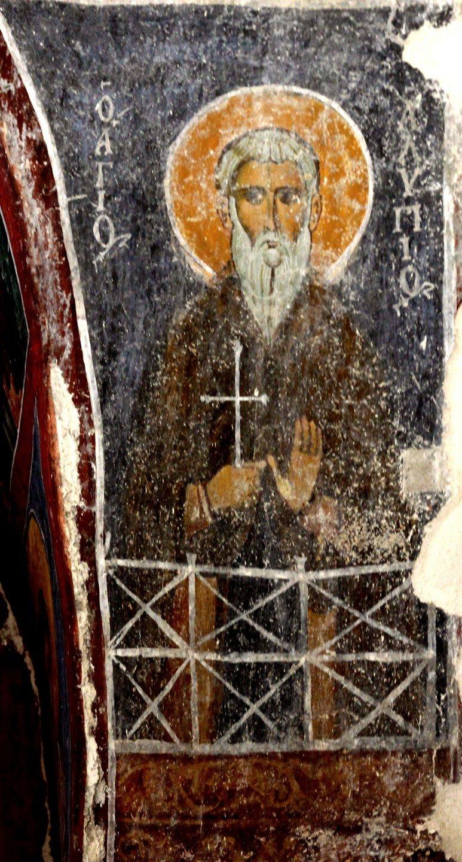 """Святой Преподобный Алипий Столпник. Фреска церкви Святого Николая """"тис стегис"""" (""""под крышей"""") на Кипре. XII век."""