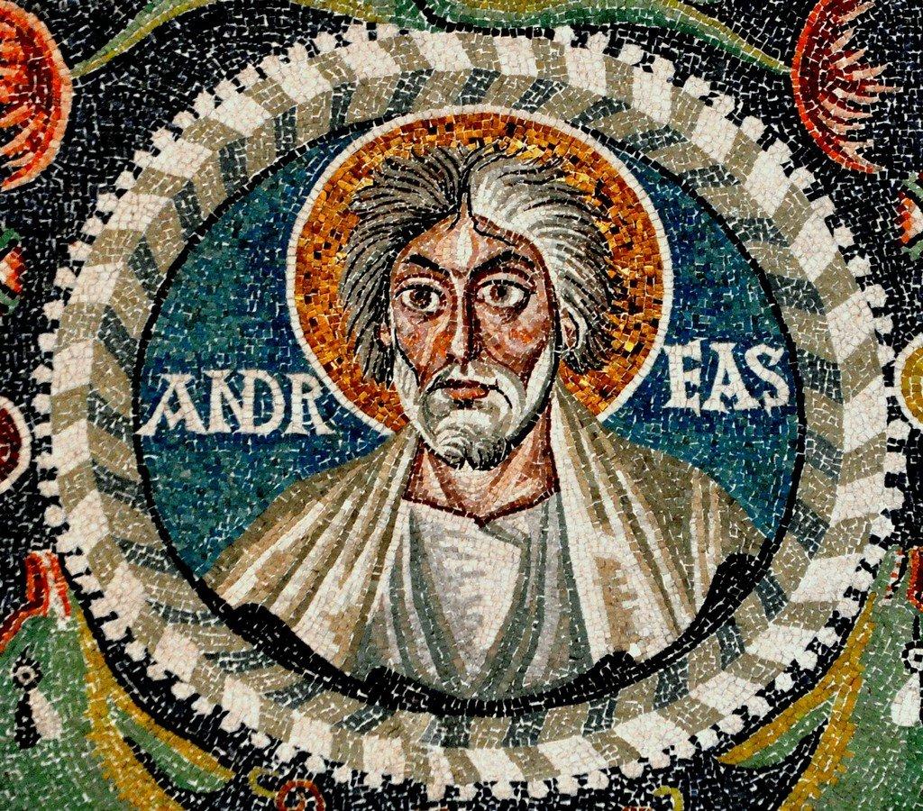 Святой Апостол Андрей Первозванный. Византийская мозаика в церкви Сан-Витале в Равенне. VI век.