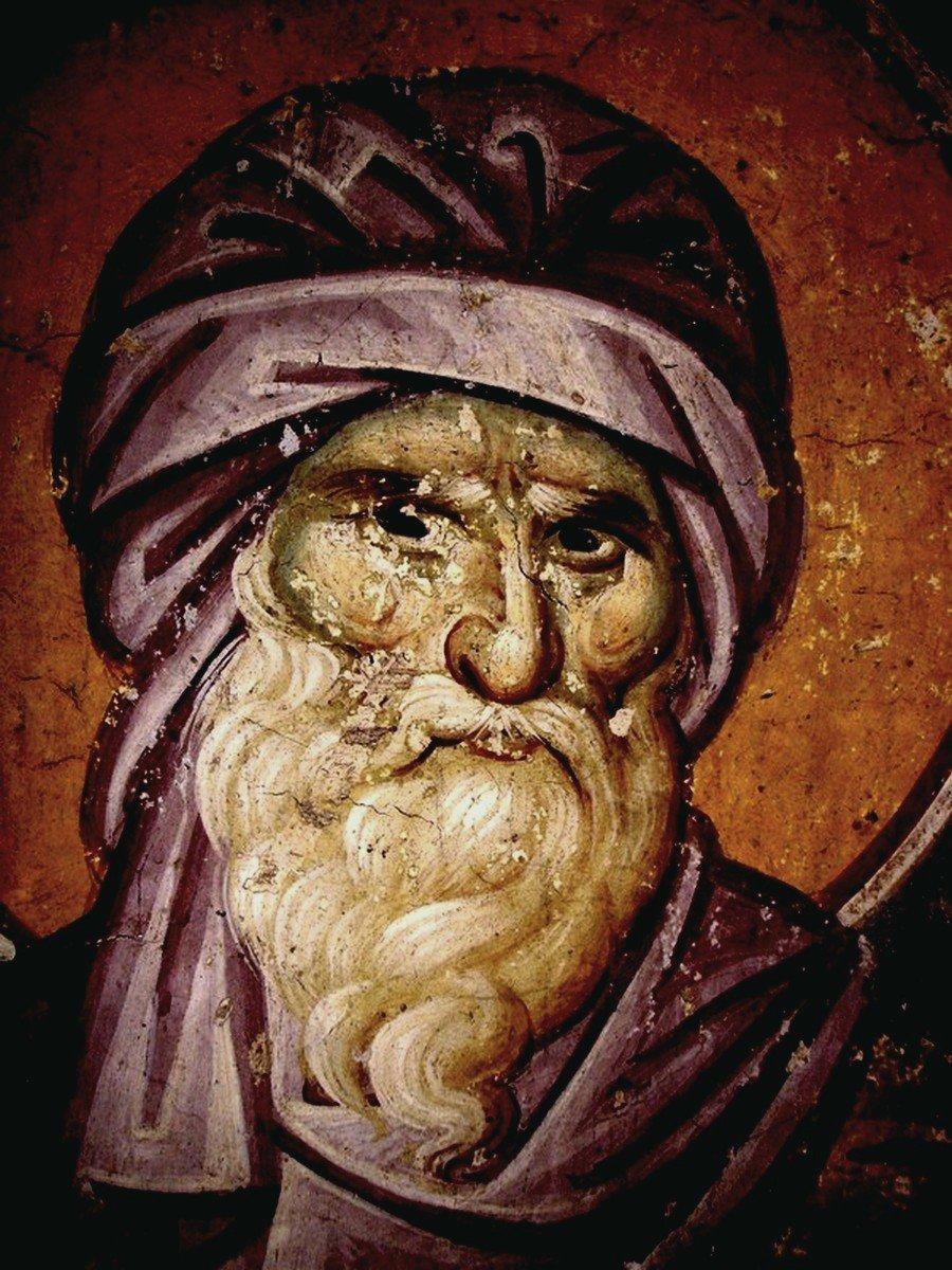 Святой Преподобный Иоанн Дамаскин. Фреска храма Протатон (Протат) на Афоне. Конец XIII века. Иконописец Мануил Панселин.