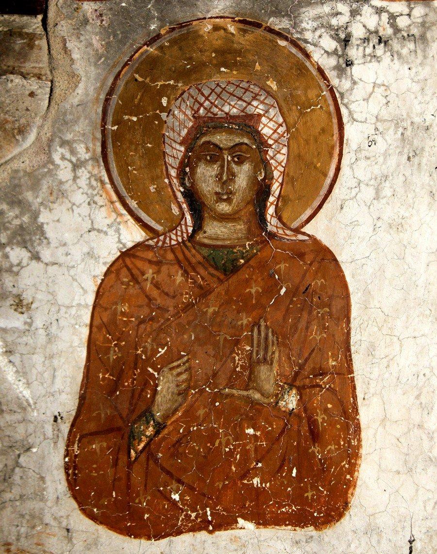 Святая Великомученица Варвара. Фреска исихастириона Панагии Елеусы на озере Преспа, Греция. 1409 - 1410 годы.