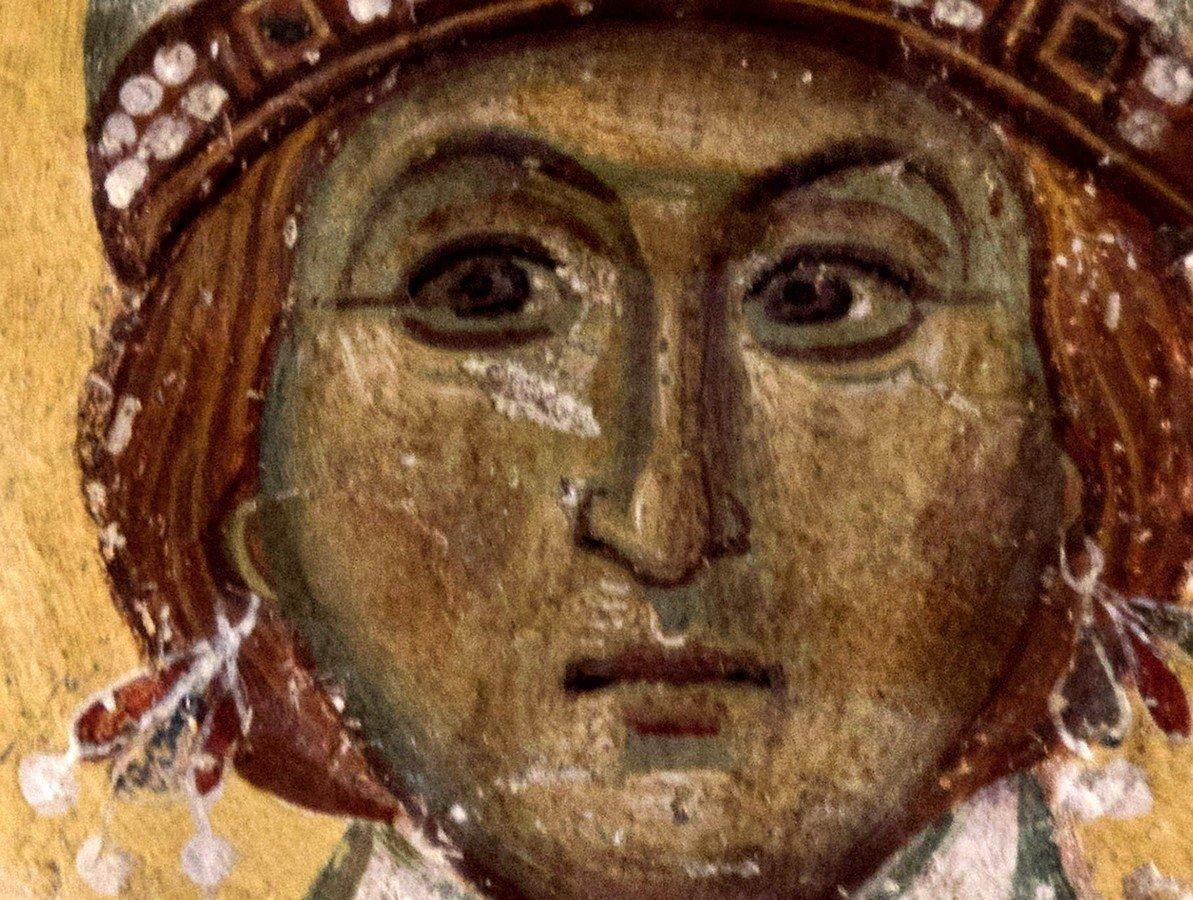 Святая Великомученица Варвара. Византийская фреска в церкви Старая Митрополия в Верии, Греция.