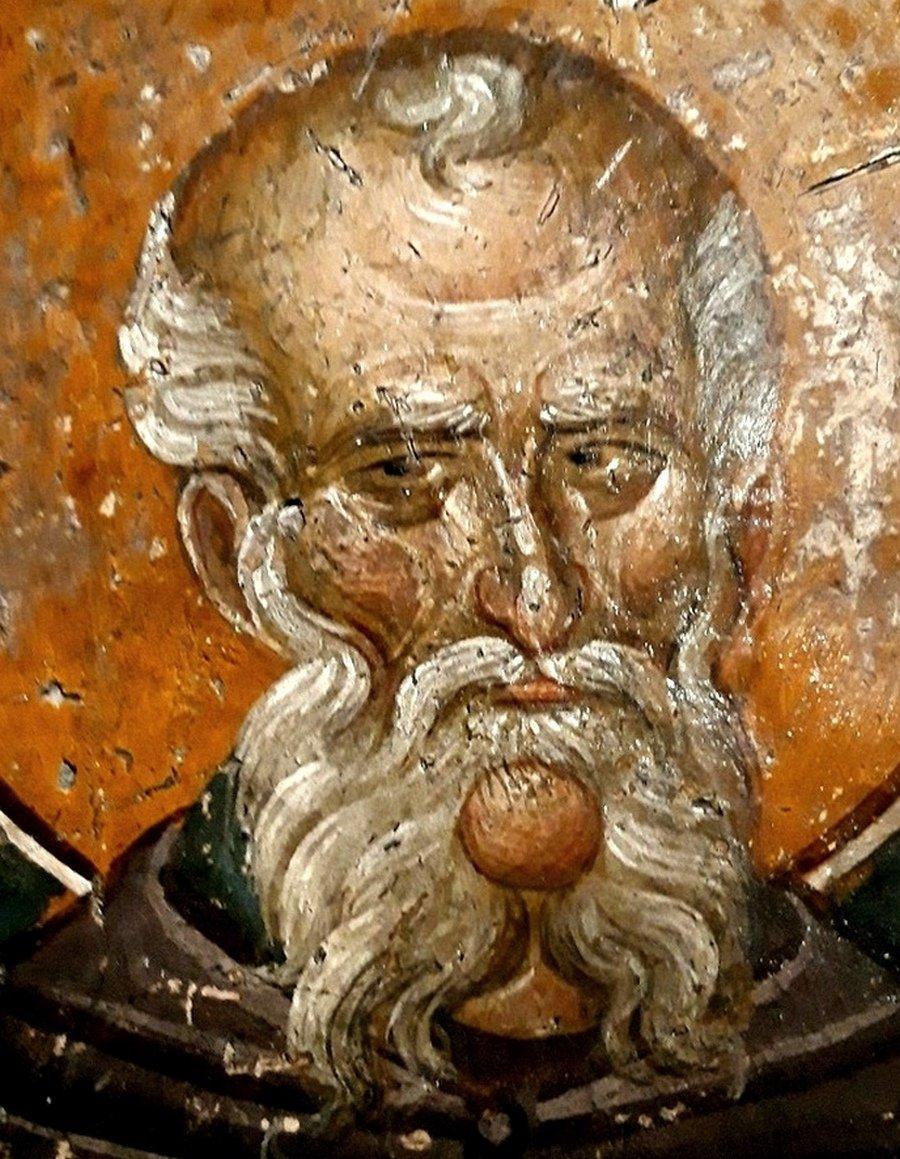 Святой Преподобный Савва Освященный. Фреска церкви Святого Николая Орфаноса в Салониках, Греция. 1310 - 1315 годы.