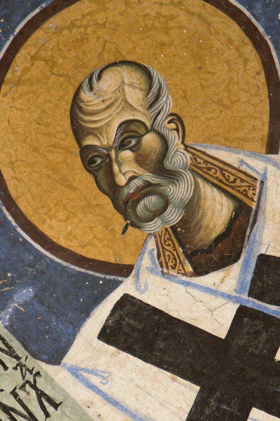 Святитель Николай, Архиепископ Мир Ликийских, Чудотворец. Фреска церкви Святого Георгия в Курбиново, Македония. 1191 год.