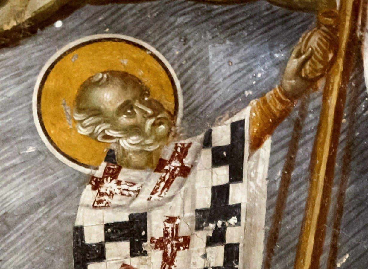 Святитель Николай, Архиепископ Мир Ликийских, Чудотворец спасает корабль. Фреска церкви Святого Николая Орфаноса в Салониках, Греция. 1310 - 1315 годы. Фрагмент.