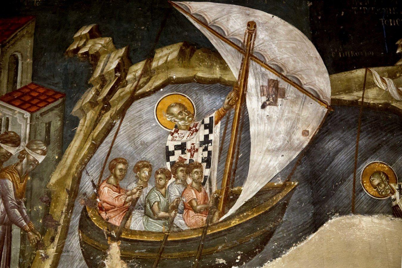 Святитель Николай, Архиепископ Мир Ликийских, Чудотворец спасает корабль. Фреска церкви Святого Николая Орфаноса в Салониках, Греция. 1310 - 1315 годы.