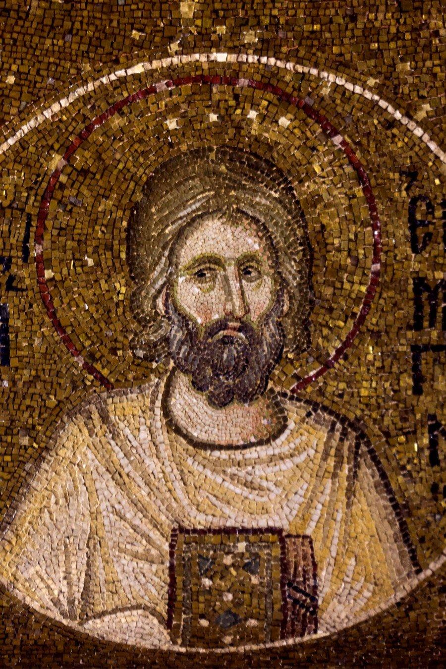 Святой Мученик Ермоген Александрийский. Мозаика монастыря Хора в Константинополе. 1315 - 1321 годы.