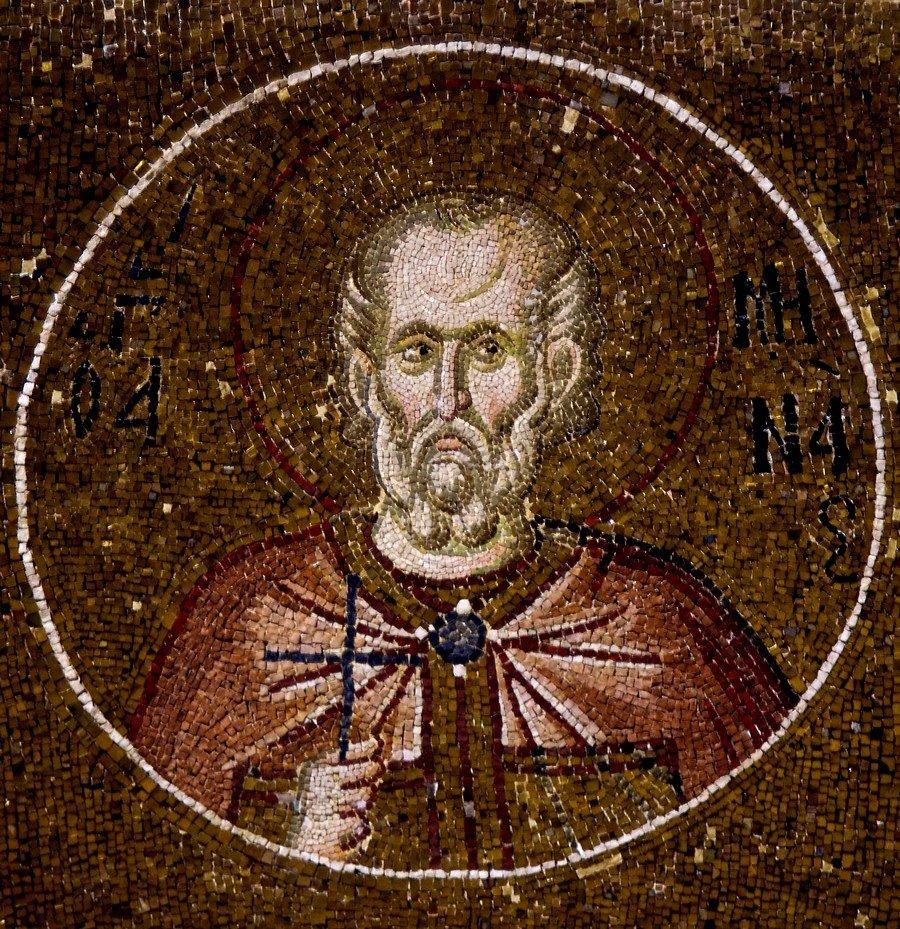 Святой Мученик Мина Калликелад, Александрийский. Мозаика монастыря Хора в Константинополе. 1315 - 1321 годы.