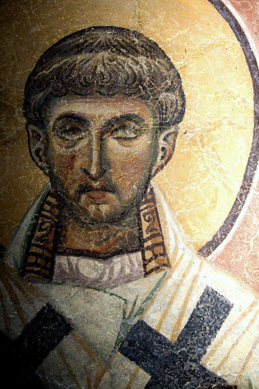 Священномученик Елевферий, Епископ Иллирийский. Фреска церкви Святого Пантелеимона в Нерези близ Скопье, Македония. 1164 год.
