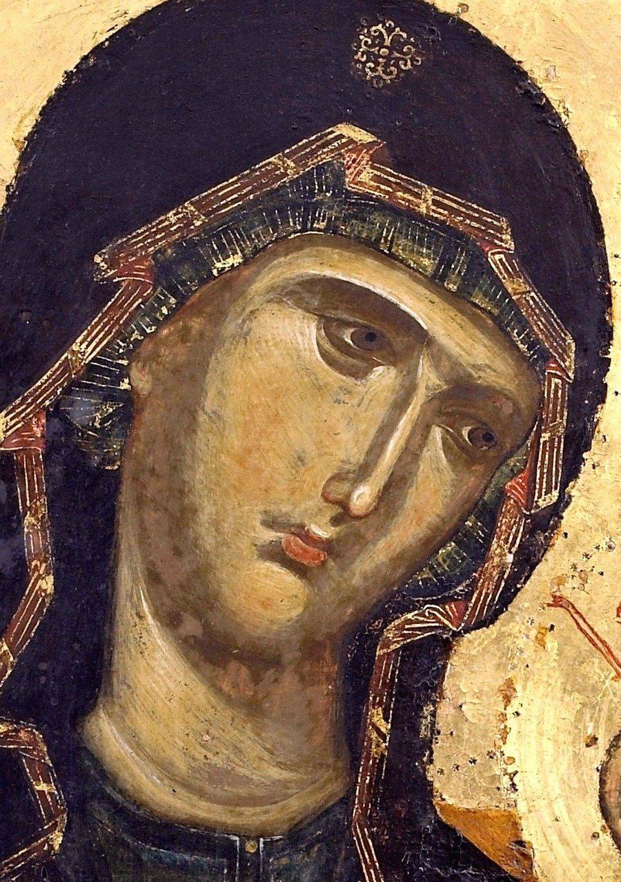 Лик Пресвятой Богородицы. Фрагмент византийской иконы второй половины XIII века. Монастырь Ватопед на Афоне.