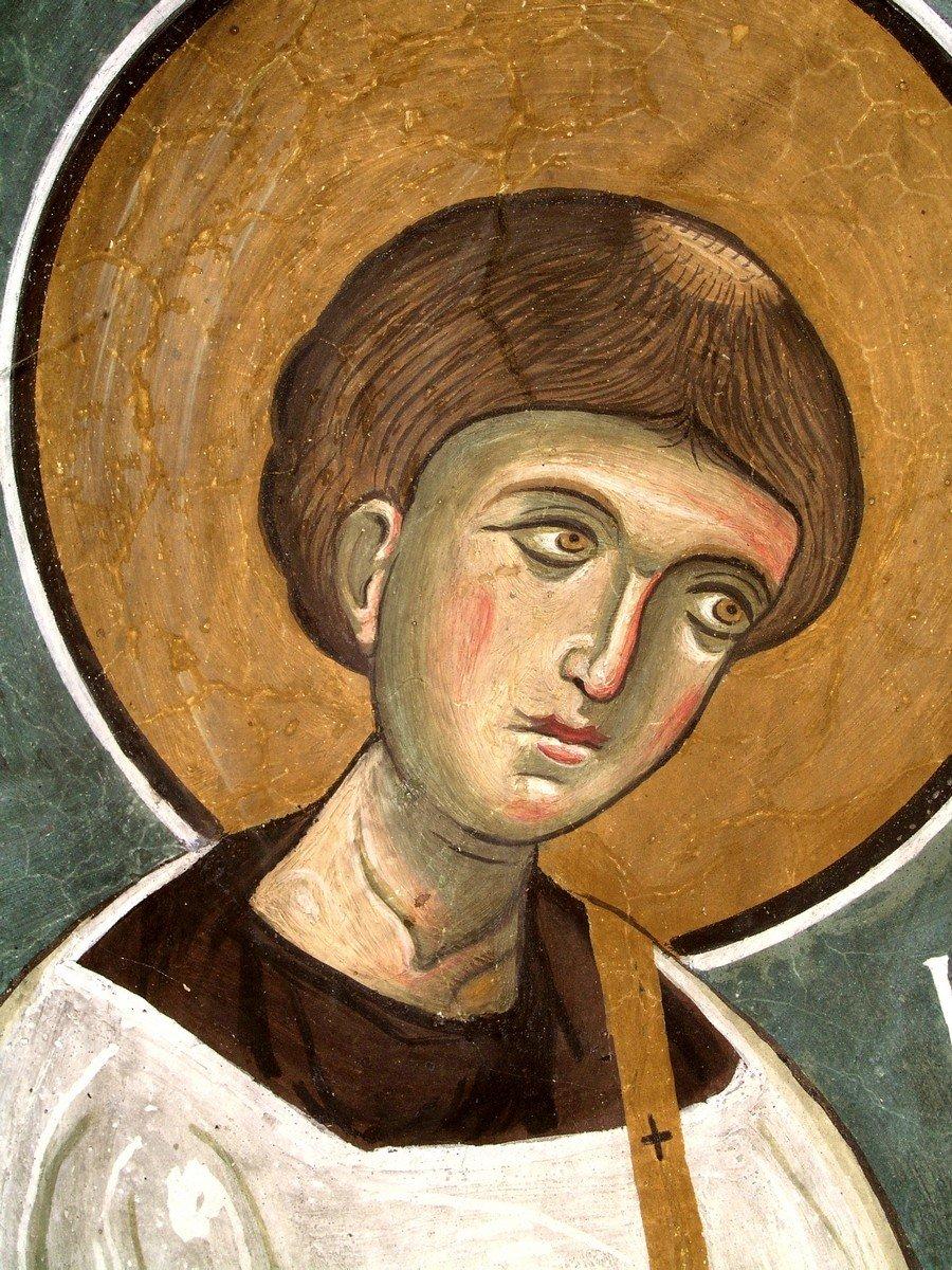 Святой Апостол от Семидесяти, Первомученик и Архидиакон Стефан. Фреска церкви Панагии Аракиотиссы в деревне Лагудера на Кипре. 1192 год.