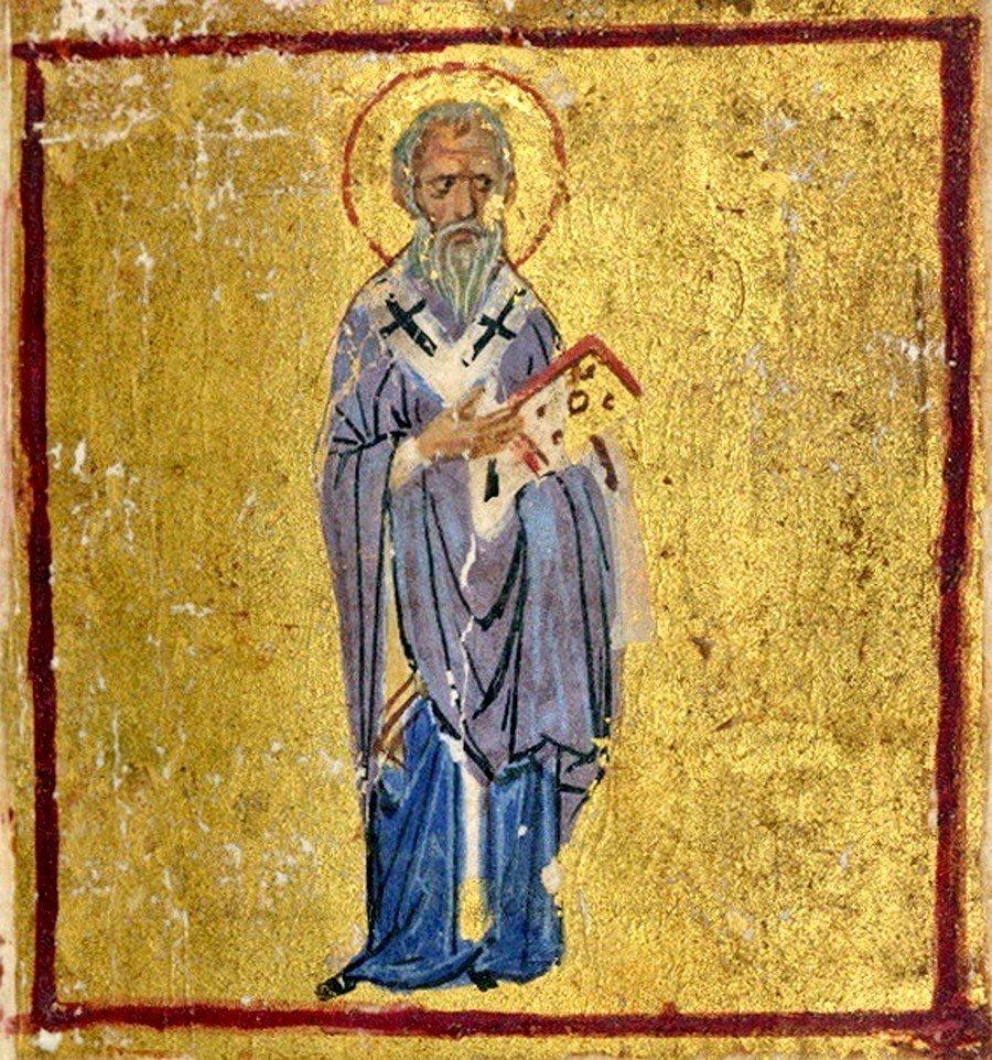 Святой Апостол Иаков, брат Господень. Книжная миниатюра. Византия, XII век.