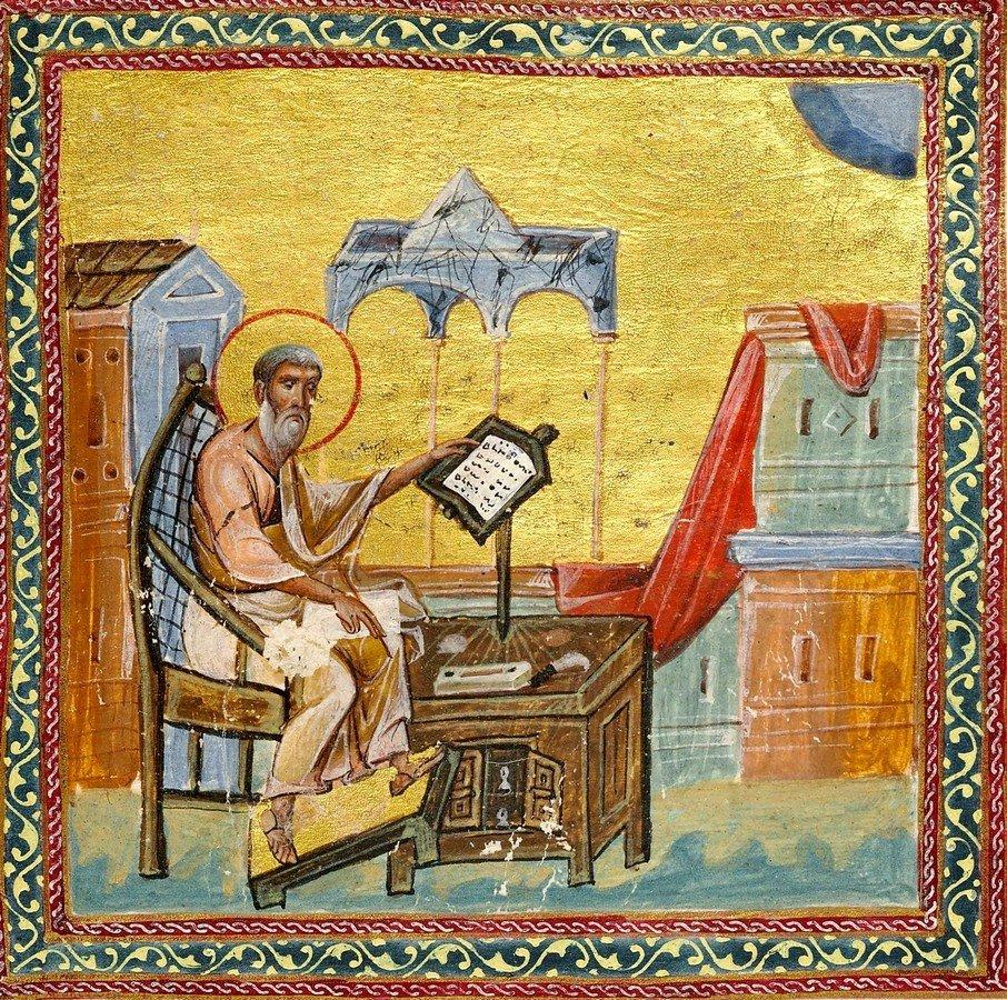 Святой Апостол Иаков, брат Господень, пишет Соборное послание. Книжная миниатюра. Византия, 1084 - 1101 годы.