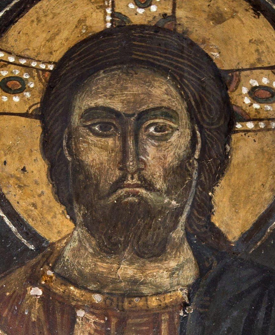 Христос Элеимон (Милостивый). Фреска церкви Святого Стефана в Кастории, Греция. Середина XIII века. Фрагмент.