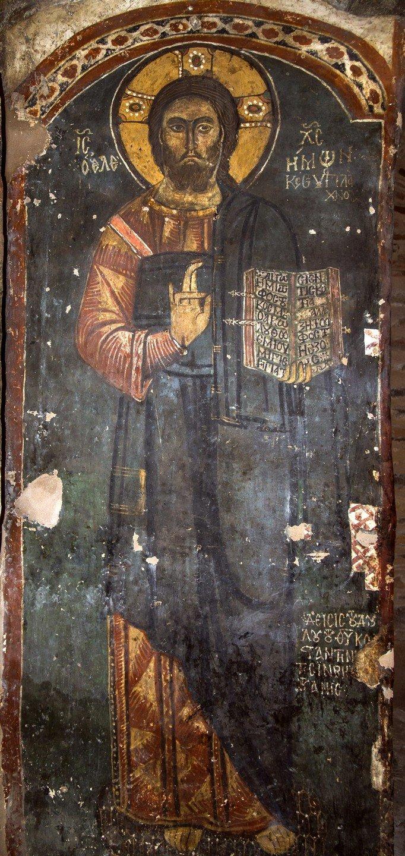 Христос Элеимон (Милостивый). Фреска церкви Святого Стефана в Кастории, Греция. Середина XIII века.