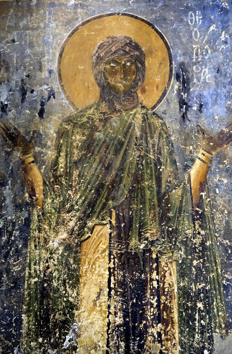 Святая Преподобная Феодора. Фреска церкви Святого Георгия в Курбиново, Македония. 1191 год.