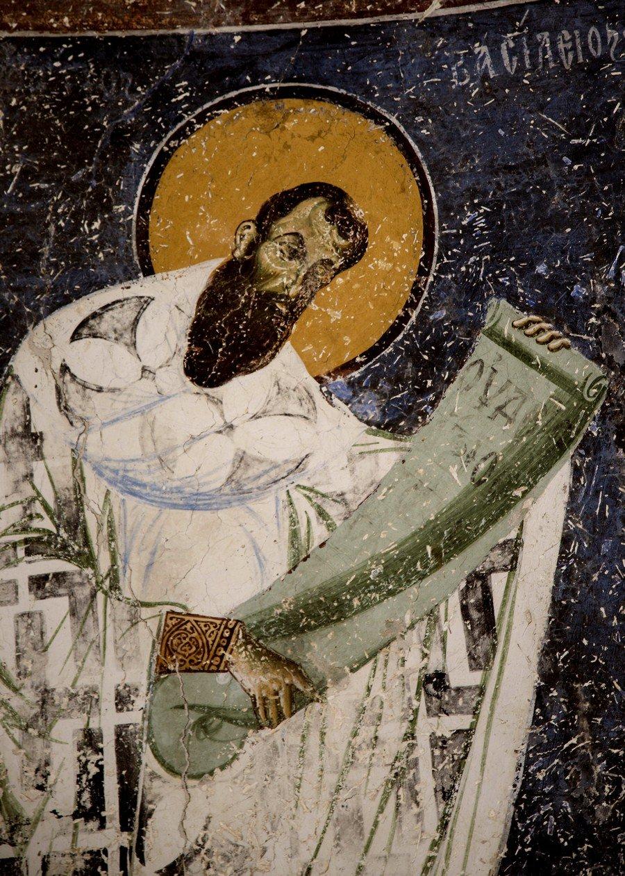 Святитель Василий Великий, Архиепископ Кесарии Каппадокийской. Фреска церкви Святого Георгия в Курбиново, Македония. 1191 год.
