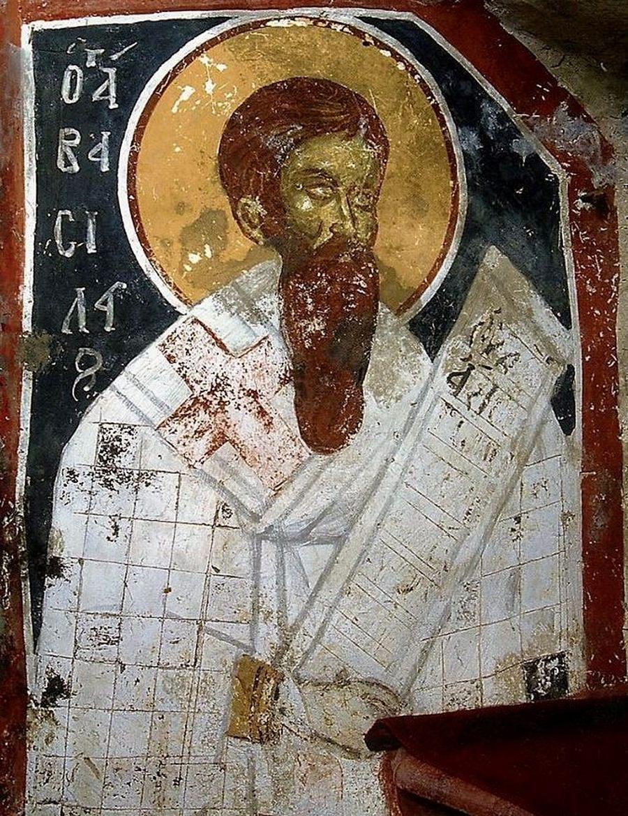 Святитель Василий Великий, Архиепископ Кесарии Каппадокийской. Фреска монастыря Сретения Господня в Метеорах, Греция. 1366 - 1367 годы.