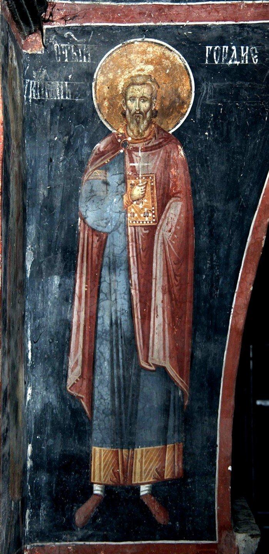 Святой Мученик Гордий Каппадокийский. Фреска церкви Богородицы в монастыре Студеница, Сербия. 1568 год.