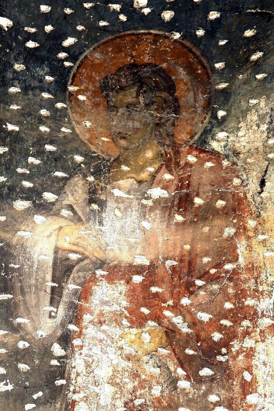 Святой Пророк Малахия. Фреска церкви Богородицы Левишки в Призрене, Косово и Метохия, Сербия. Около 1310 - 1313 годов. Иконописцы Михаил Астрапа и Евтихий.