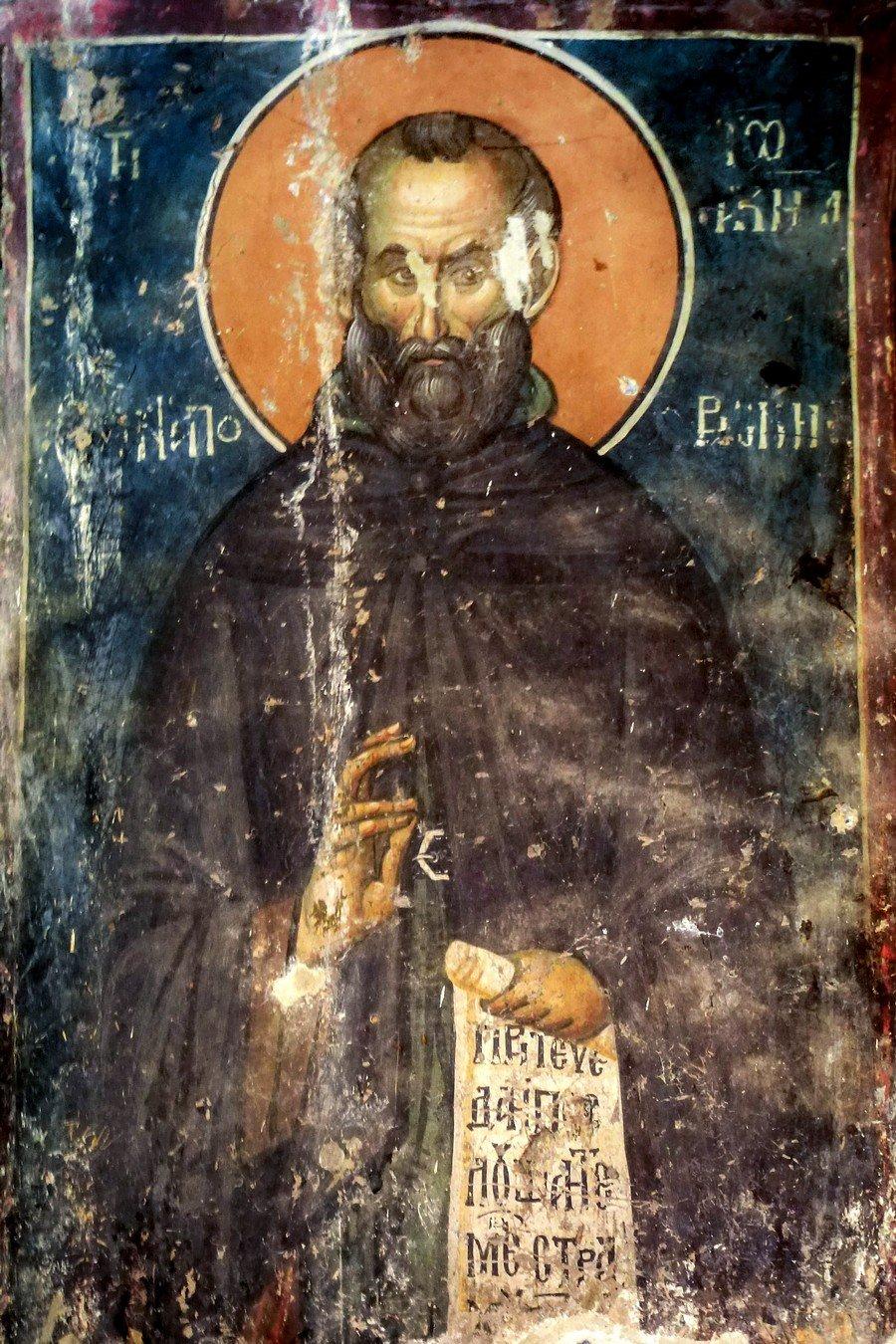 Святой Преподобный Иоаким Осоговский. Фреска церкви Святого Николая в монастыре Псача, Македония. 1365 - 1377 годы.