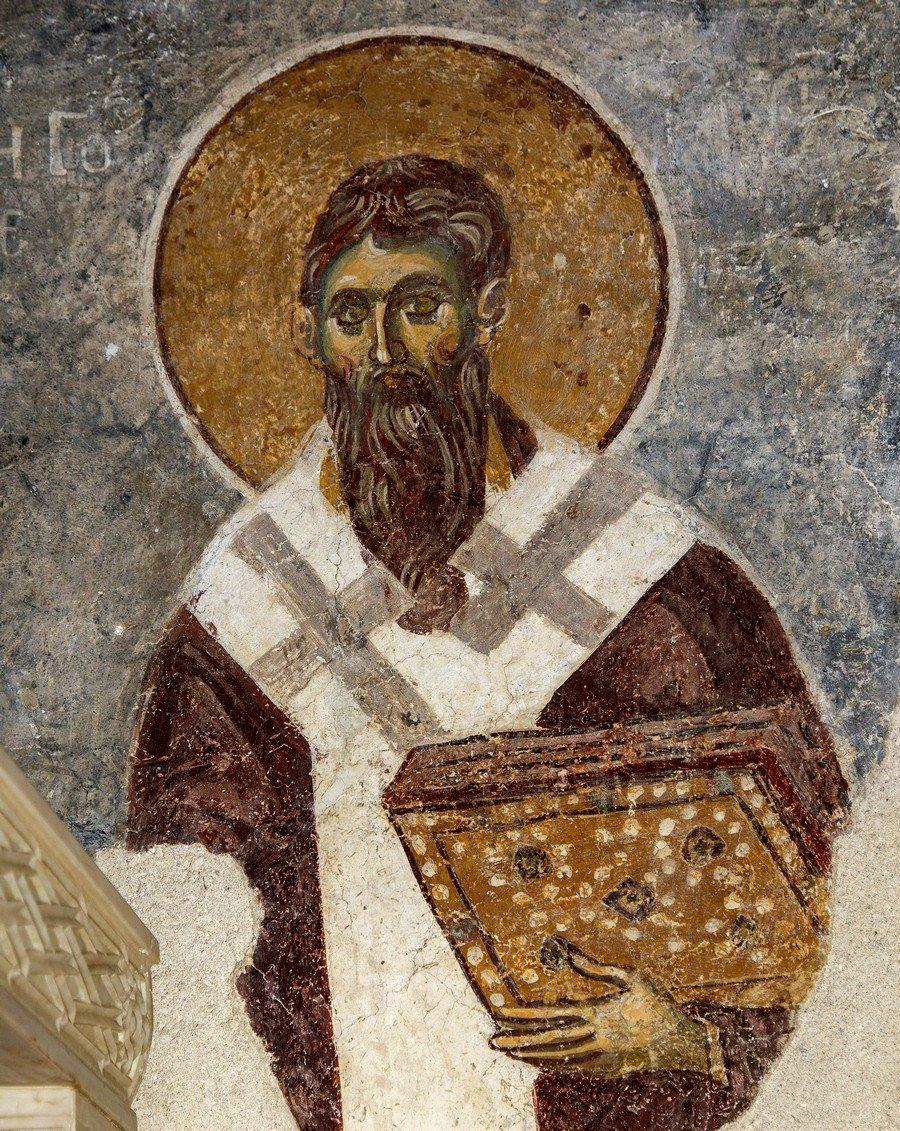 """Святитель Григорий, Епископ Нисский. Фреска церкви Вознесения Господня (""""Спасов дом"""") в монастыре Жича, Сербия. 1309 - 1316 годы."""